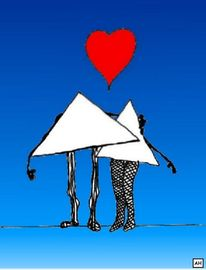 Dreieck, Verhältnis, Liebe, Illustrationen
