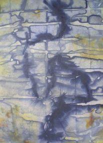 Kette, Mauer, Tinte, Aquarell