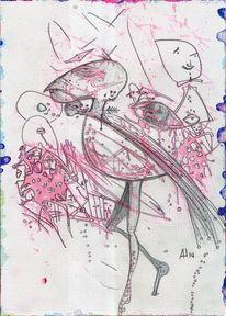 Rot, Rosarot, Flamingo, Aquarell