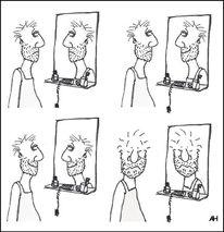 Cartoon, Spiegel, Lächeln, Zeichnungen