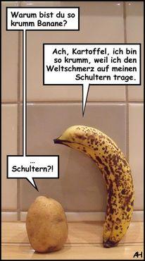 Kartoffeln, Banane, Weltschmerz, Illustrationen