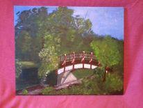 Magdeburger, Acrylmalerei, Holzbrücke, Natur