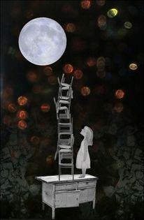 Nachthimmel, Leiter, Funkeln, Mondschein