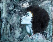 Acrylmalerei, Kreide, Kopf, Profil