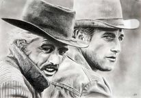 Cowboy, Gesicht, Bleistiftzeichnung, Zeichnungen