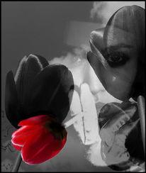 Tulpen, Rot, Digitale fotografie, Frau