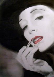 Lippenstift, Hut, Portrait, Weiß