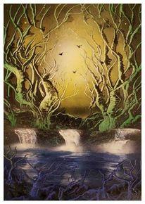 Spraydosen, See, Baum, Sonnenuntergang