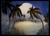 Palmen, Sonnenuntergang, Sonne, Malerei