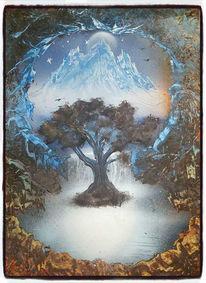 Berge, Fantasie, Wasserfall, Baum