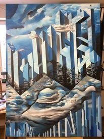 Ölmalerei, Drei farben, 3d, Surreal