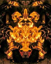 Spiegelung, Feuer, Lagerfeuer, Mystik