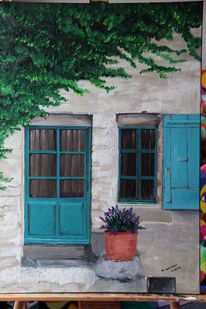 Ölmalerei, Architektur, Haus, Blau