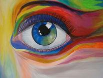 Menschen, Abstrakt, Augen, Bunt