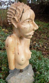Holz, Figur, Frau, Kopf