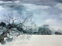 Baum, Winterlandschaft, Aquarell, See