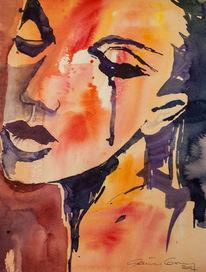 Portrait, Aquarellmalerei, Frau, Aquarell