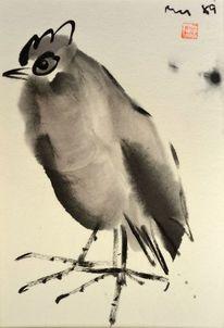 Japantusche, Vogel, Sumi, Malerei