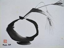 Sumi, Vase, Zeichnung, Weizen