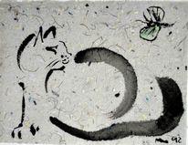 Katze, Tuschezeichnung, Japantusche, Tuschmalerei