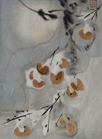 Zeichnung, Beere, Japantusche, Schnee