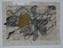 Zeichnung, Gingkoblatt, Japantusche, Collage