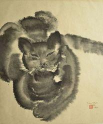 Katze, Japanpapier, Sumi, Zeichnung