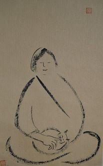 Katze, Sumi, Meditation, Zeichnung