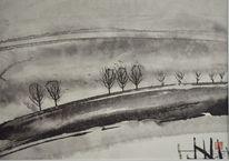 Nebel, Japanpapier, Sumi, Vogel