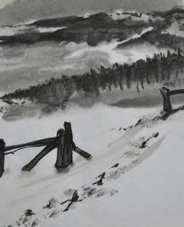 Winter, Spuren, Japanpapier, Tuschmalerei