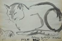 Japantusche, Japanpapier, Tuschmalerei, Katze