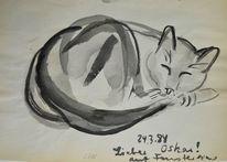 Tuschmalerei, Katze, Japantusche, Japanpapier
