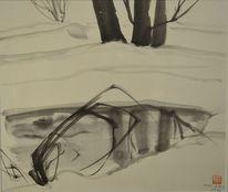 Eis, Zeichnung, Japanpapier, Schnee