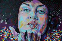 Moderne malerei, Expressionismus, Spachteltechnik, Acrylfarben