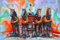 Zeitgenössische kunst, Expressive malerei, Streitwagen, Pop art