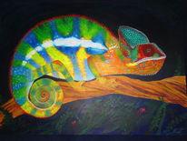 Chamäleon, Acrylmalerei, Malerei