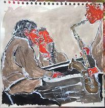 Jazz, Musik, Bar, Malerei