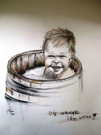 Kind, Kohlezeichnung, Menschen, Lachen