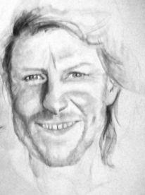 Portrait, Gesicht, Aquarellmalerei, Schwarz weiß