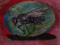 Aquarellmalerei, Fliege, Fliegen, Aquarell