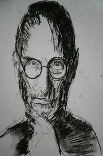 Schwarz weiß, Kohlezeichnung, Steve jobs, Zeichnungen