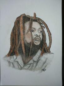 Portrait, Dreadlocks, Pastellmalerei, Reggae