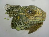 Reptil, Tiere, Echse, Pastellmalerei