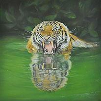 Ölmalerei, Fotorealistische malerei, Tiger, Bengal