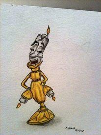 Kerzen, Lachen, Zeichnung, Comic