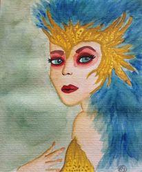 Rotes makeup, Blau, Anmut, Krone