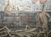 Mauer, Haus, Schaufensterpuppe, Körper
