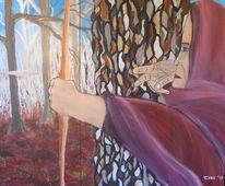 Mittelalter, Waldläufer, Bogenschütze, Malerei