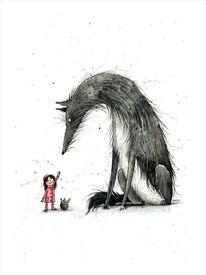 Rotkäppchen, Wolf, Großer hund, Illustrationen