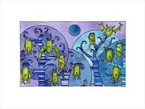 Blau, Nacht, Fledermaus, Baum